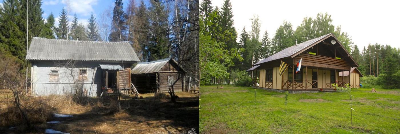 Полная реконструкция и увеличение площади типового деревенского дома. Внешняя и внутренняя отделка в стиле Шале